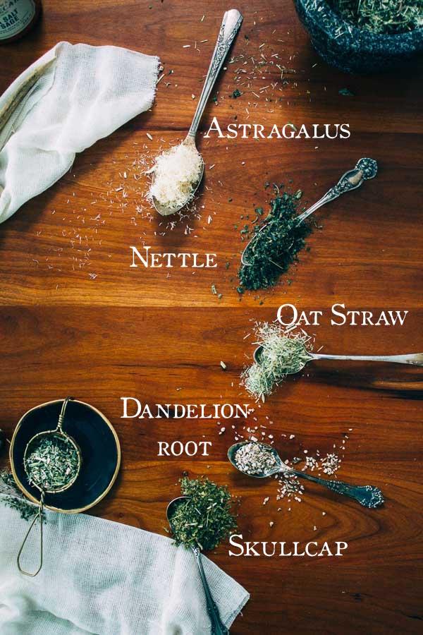 Nettle, Oat Straw, Astragalus, Skullcap